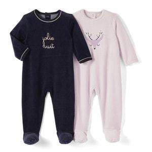 Pyjama velours 0 mois-3 ans (lot de 2) La Redoute Collections