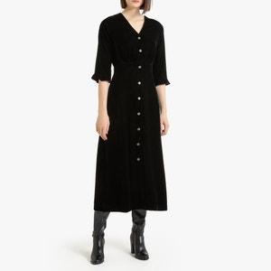 Lange jurk met korte mouwen in fluweel
