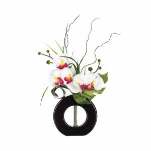 Composition florale vase noir - Hauteur 44 cm - Orchidée fleur rose ATMOSPHERA