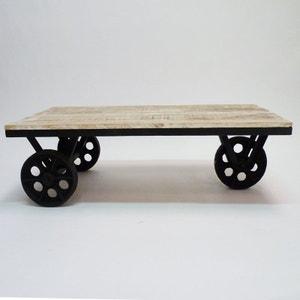 Table basse à roulettes métal et bois - 100x50     MIM4359PMN MADE IN MEUBLES