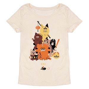 Tee-shirt femme en coton bio beige Cat Crew MONSIEUR POULET