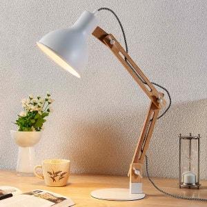 Lampe de bureau en bois Shivanja, abat-jour blanc LAMPENWELT
