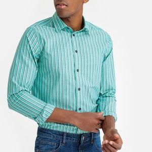 Gestreept slim hemd met lange mouwen