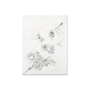 FLEURS 90x120 Peinture acrylique rectangle Blanc et Argent effet 3D PIER IMPORT