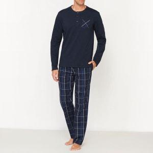 Pyjama manches longues avec pantalon à carreaux R essentiel