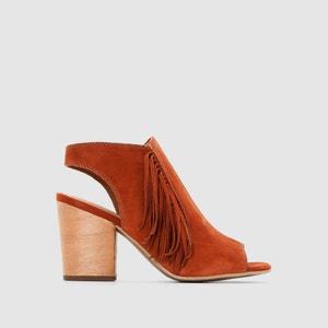 Sandálias com tacão, pele, biqueiras e calcanhar abertos, franjas TAMARIS