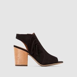 Sandalias con tacones, de piel, puntera y tacones abiertos, con flecos TAMARIS