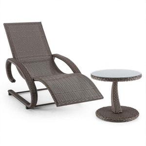 Blumfeldt Daybreak Chaise longue à bascule + table aspect vannerie - gris taupe BLUMFELDT