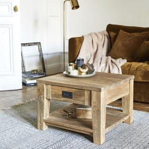 Table basse en bois de teck recyclé 60 cm BOIS DESSUS BOIS DESSOUS