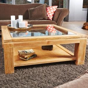 Table basse carrée vitrée en bois de TECK BRUT QUALITE PREMIUM - 100cm BOIS DESSUS BOIS DESSOUS