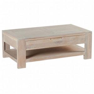 Table basse Chêne massif ciré blanchi double plateaux, 1 tiroir 110x60x39cm MANILLE PIER IMPORT