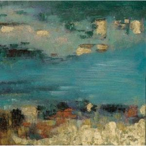 Tableau paysage abstrait 115x115cm peinture PIER IMPORT