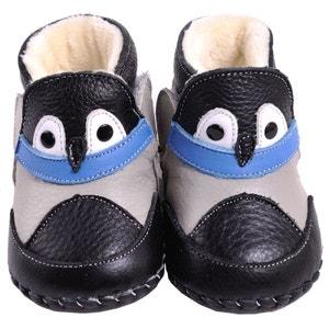 Chaussures premiers pas cuir souple | Montantes fourrées noires CAROCH