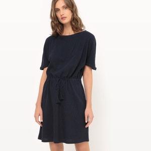 Vestido de manga corta, ajustado en la cintura R essentiel