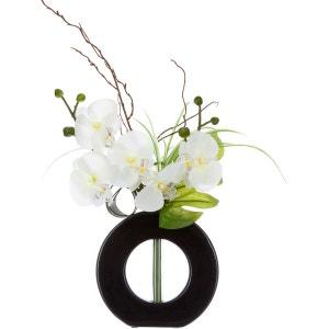 Composition florale vase noir - Hauteur 44 cm - Orchidée fleur blanche ATMOSPHERA