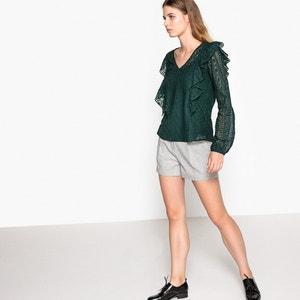 Langärmelige Bluse mit V-Ausschnitt, unifarben SUNCOO