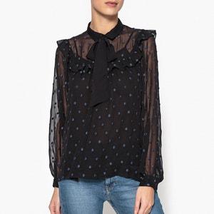 Blusa con volantes y lunares de tejido transparente, FLORA STELLA FOREST