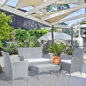 Mykonos gris/blanc : salon de jardin 4 places en résine tressée CONCEPT USINE