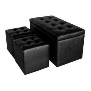 Banquette coffre et ses deux poufs en imitation cuir noir Athènes DECLIKDECO