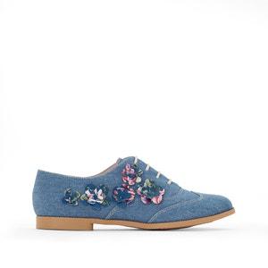 Sapatos derbies em ganga, flores bordadas MADEMOISELLE R