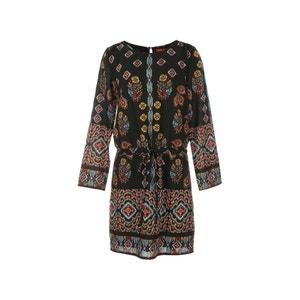 Krótka, wzorzysta sukienka z długim rękawem RENE DERHY