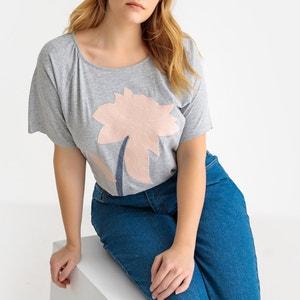 T-shirt met ronde hals en korte mouwen, bloemenborduursel