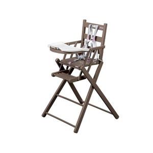 Chaise haute bébé Sarah extra-pliante laquée taupe COMBELLE COMBELLE