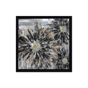 Tableau Fleurs Flamboyantes noires et couleurs dorée argentée sur métal avec cadre 60x60cm PIER IMPORT