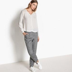Langärmelige Bluse, V-Ausschnitt, unifarben SUNCOO