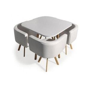 Table Avec Chaises Encastrables Scandinaves Blanc COPENHAGUE DECLIKDECO
