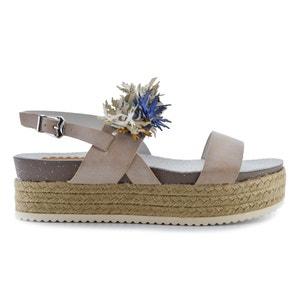 Sandales cuir semelle compensée Duna BUNKER