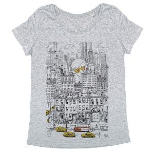 Tee-shirt femme en coton bio gris NY1 MONSIEUR POULET