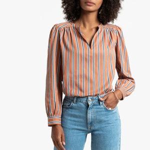 Gestreepte blouse met V-hals en lange mouwen