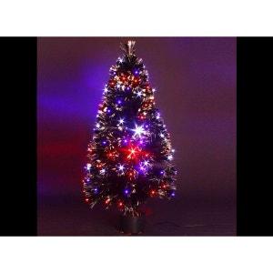 Sapin de Noel artificiel noir lumineux multicolore - 90 cm JARDIDECO