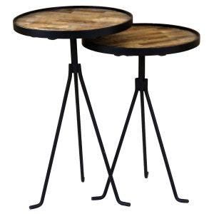 2x Tables d'appoint gigognes rondes en teck Ø38 cm Woody - 38 x 38 cm  - Bois foncé ZAGO