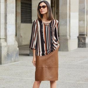 Gestreepte blouse met V-hals en 3/4 mouwen