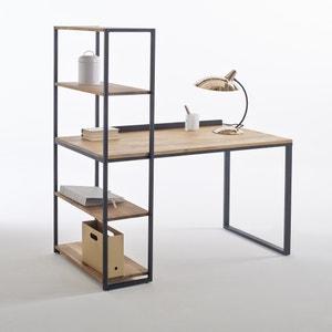 Schreibtisch-Bücherregal Metall und Eiche massiv, Hiba La Redoute Interieurs