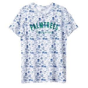 T-shirt com gola redonda estampada 100% algodão R édition