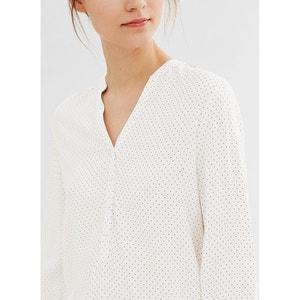 Blusa con cuello de pico estampado gráfico, manga larga ESPRIT