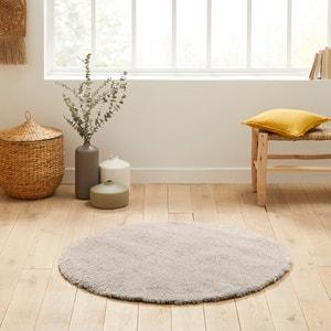 Rond shaggy tapijt met wollen aspect, Afaw