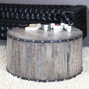 Table basse industrielle effet rondin de bois  |  IF621 MADE IN MEUBLES