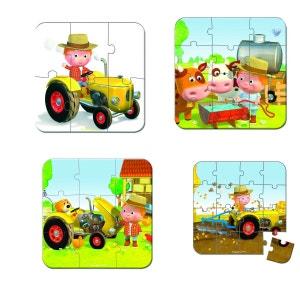 Valisette 4 Puzzles Tracteur Peter - JURJ02886 JANOD