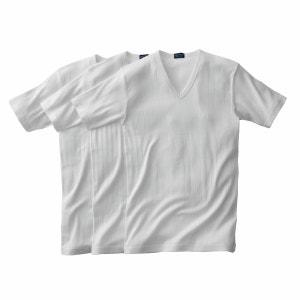T-shirt côtes fantaisie col V (lot de 3) manches c R essentiel