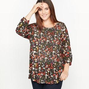 T-shirt z kwiecistym nadrukiem i ozdobnymi przymarszczeniami CASTALUNA
