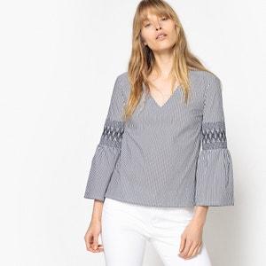 Gestreepte blouse met V-hals en lange mouwen MADEMOISELLE R