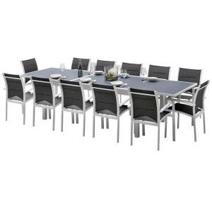 Ensemble table et chaises de jardin MODULO 12 PLACES BLANC/GRIS PERLE WILSA