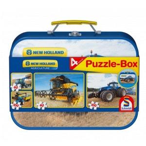 Puzzle 60 et 100 pièces : Coffret 4 puzzles : Tracteurs New Holland SCHMIDT