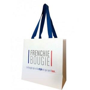 Sac cadeau en papier avec anse tissu Frenchie Bougie L21xH21xP10cm BOUGIES LA FRANÇAISE