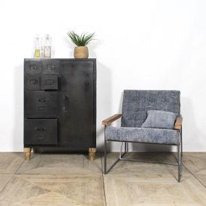 Fauteuil industriel style lounge en tissu bleu     B25 MADE IN MEUBLES