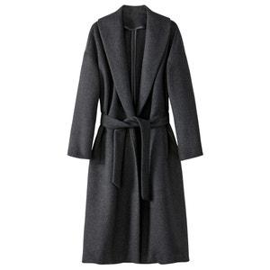 Пальто длинное с шалевым воротником 52% шерсти La Redoute Collections